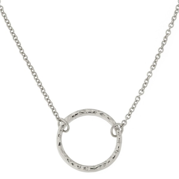 """Sterling Silver Hammered Open Circle Pendant Necklace- 16""""-18"""" - C111EYA16OR"""