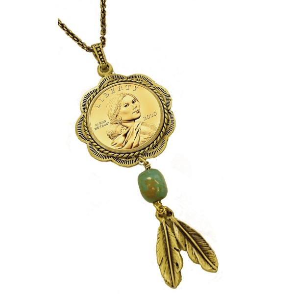 American Coin Treasures Sacagawea Brass and Turquoise Coin Pendant - CR115VSJN6Z