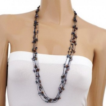 Silk Thread and Cultured Freshwater Pearl Multi Strand Long Cluster Necklace- 35-37 inches - Black - CI119BFWF2N