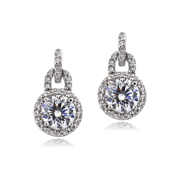 Bria Lou 925 Sterling Silver 100 Facets Round Cut Cubic Zirconia Halo Drop & Dangle Earrings (2cttw) - C7129X0KN9R