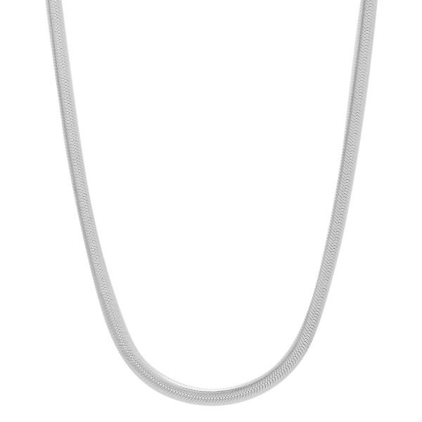 925 Sterling Silver Nickel-Free 3.1mm Herringbone Necklace Made in Italy + Bonus Polishing Cloth - CV12GF49HZF