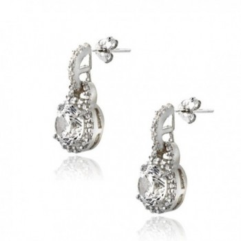 Platinum Flashed Silver Zirconia Earrings