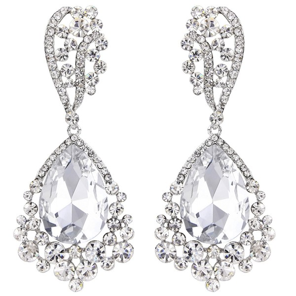 BriLove Women's Elegant Bridal Wedding Crystal Chandelier Beaded Teardrop Dangle Earrings - Silver-Tone Clear - CY12JDXSFLR
