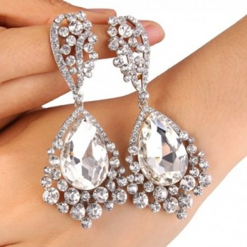 BriLove Chandelier Teardrop Earrings Silver Tone