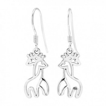 925 Sterling Silver Twin Hugging Giraffe Dangle Earrings - CV11KAEVBGJ