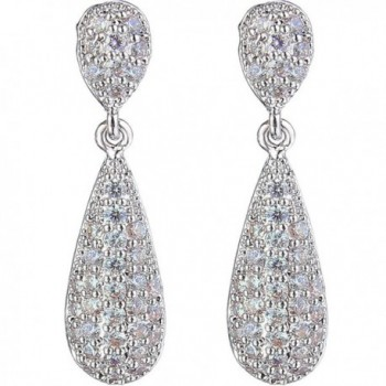 EleQueen Women's Pave Full Cubic Zirconia 2 Teardrop Bridal Dangle Earrings Clear - Silver-tone - CE123WRIG19