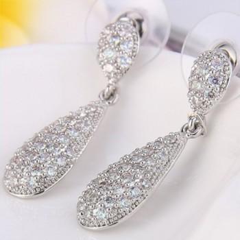 EleQueen Zirconia Teardrop Earrings Silver tone in Women's Jewelry Sets