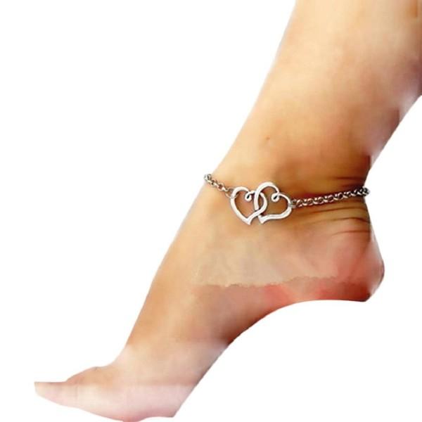 SusenstoneNew Jewelry Double Heart Chain Beach Anklet Bracelet - CI124GK870V