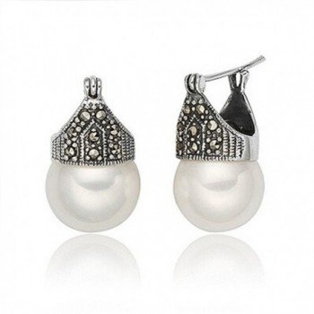 Luna Azure Vintage Style Sterling Silver Shell Pearls Marcasite Women Earrings - C012GYUG26R
