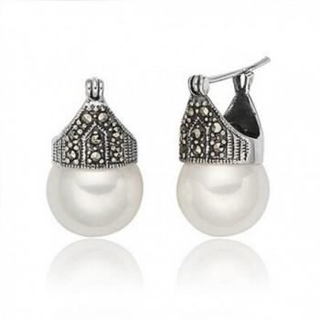 Luna Azure Vintage Style Sterling Silver Shell Pearls Marcasite Women Earrings - C012GYUG26R