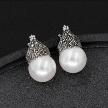 Luna Azure Sterling Marcasite Earrings