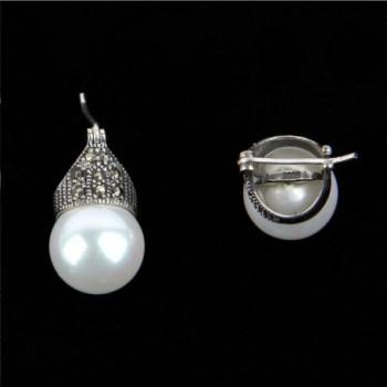 Luna Azure Sterling Marcasite Earrings in Women's Hoop Earrings
