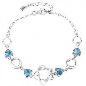 EleQueen 925 Sterling Silver Cubic Zirconia Flower Love Heart Wedding Bracelet Chain - Aquamarine Color - C6129RIW97T