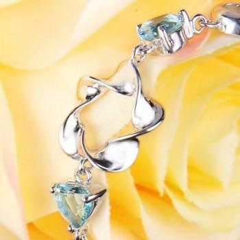 EleQueen Sterling Zirconia Bracelet Aquamarine