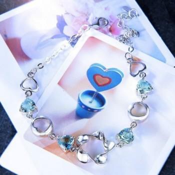 EleQueen Sterling Zirconia Bracelet Aquamarine in Women's Link Bracelets