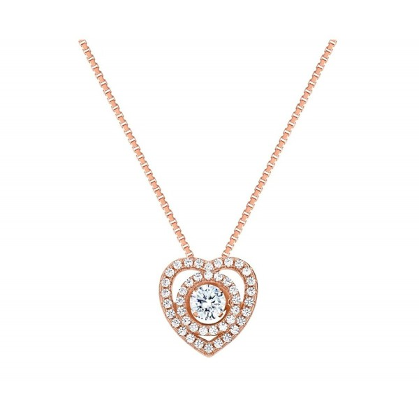 "NANA Circle in Heart Dancing Stone Pendant S-Silver & Swarovski CZ with 0.8mm 22"" Adjustable Box Chain - CU12NSNQMGF"