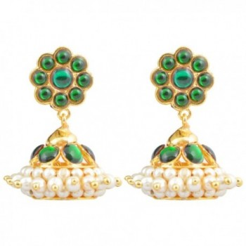 Khushi Purchase Women's Gold Finish Green Kempu Stones Jhumki (Small) Green - C011MJAMLOD