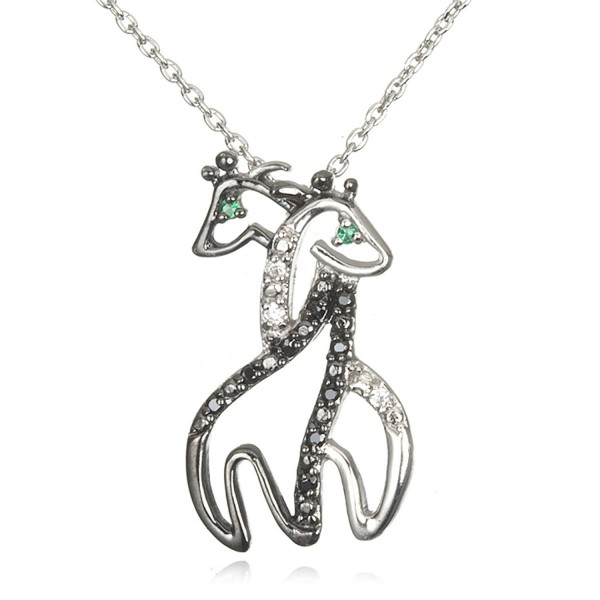 "Rhodium Plated Silver Black and White Cz Twin Hugging Giraffe Pendant with Green Eyes-18"" - CB116PFBMFN"