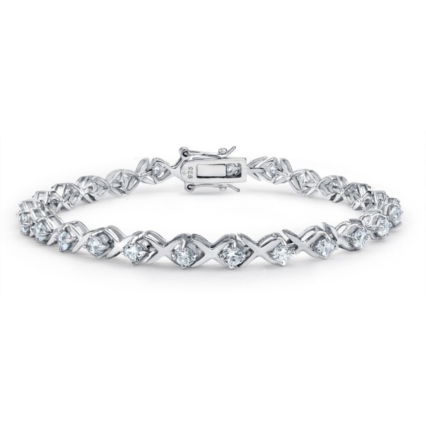 Bling Jewelry XOXO Hugs Kisses 925 Sterling Silver CZ Tennis Bracelet - CE113TJRFEP