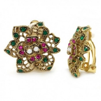 Clip On Earrings Flower Antique Pink Green Crystal Filigree Multi Color - C911XGIVKAD