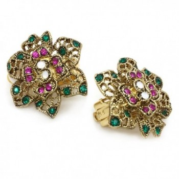 Earrings Flower Antique Crystal Filigree in Women's Clip-Ons Earrings