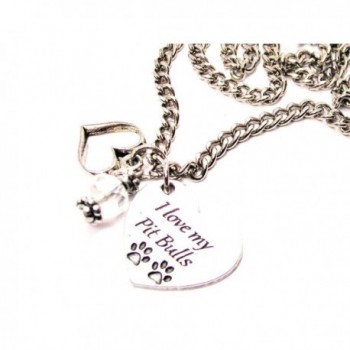 "ChubbyChicoCharms I Love My Pit Bulls Heart And Crystal 18"" Necklace - CT11UFZDA7B"
