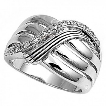 Sterling Silver Women's White CZ Ring Fashion Pure 925 New Wide Band Sizes 6-10 - CD11GQ40HH7