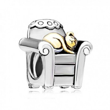 LovelyJewelry Silver Plated Cat In Office Chair Animal Style Charm Beads s Bracelets - CU12EE2BHKN