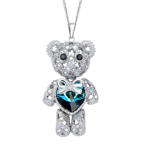EleQueen Women's Silver-tone Love Heart Bear Pendant Necklace Adorned with Swarovski Crystals - Blue - C311R3G0RTZ