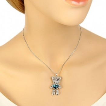 EleQueen Silver tone Necklace Swarovski Crystals in Women's Pendants