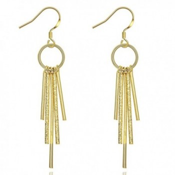 MXYZB Gold Plated Pillars Tassel Dangle Earrings Jewelry Gifts for Women Girls Hypoallergenic - CN187908TIT