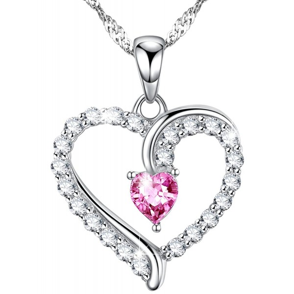 Necklace Tourmaline Swarovski Anniversary Birthday - Pink Tourmaline Love Hearts Necklace - CB1872S72GH