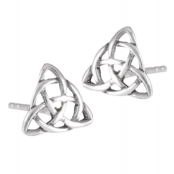 .925 Sterling Silver Celtic Trinity Knot Stud Post Earrings - C1124U2DQLF