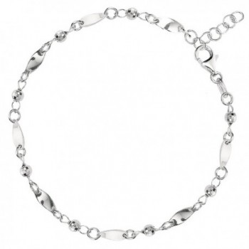 Fancy Link With Faceted Beads Chain Anklet In Sterling Silver - CV119T8AEID