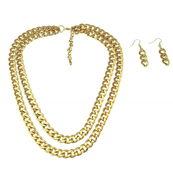 Dual layer cuban curb chain necklace set with matching cuban chain drop earrings 2 line 2 layer. - CJ11S4QCUED