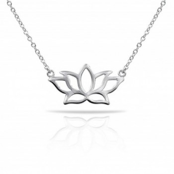 Mmiiss Lotus Flower Pendant Necklace 925 Sterling Silver for Women- 400mm - Silver - CZ185O4YZNA