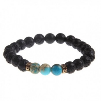 YEYULIN Natural Bracelets Healing Turquoise - Turquoise Beads Lava Beads - C812ODB85CQ