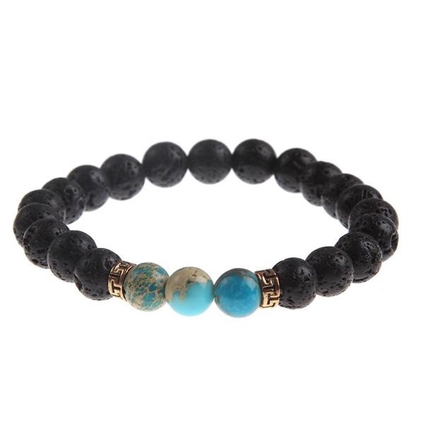YEYULIN Natural Bracelets Healing Turquoise - Turquoise Beads Lava Beads - C812ODB85CQ