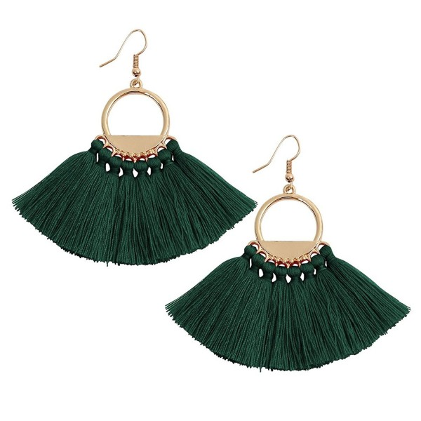 Pokich Tassels Dangle Earrings Boho Dangle Gold Plated Hoop Earrings Hook 6 Colors for Women - Dark Green - CZ1857LID8X