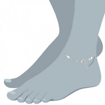 Fancy Faceted Anklet Sterling Silver in Women's Anklets
