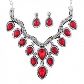 YAZILIND Teardrop Bridal Choker Necklace Earring Jewelry Set for Women - Red - CL12I7DMXZD