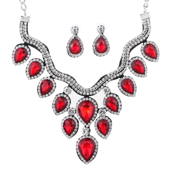YAZILIND Teardrop Bridal Choker Necklace Earring Jewelry Set for Women - Red - CL12I7DMXZD