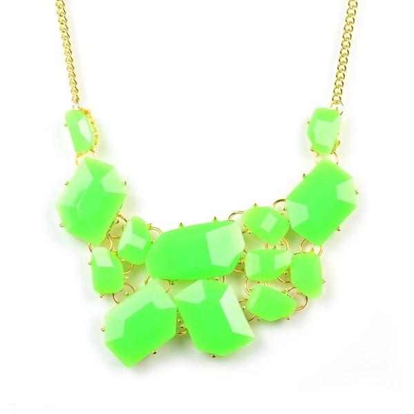 Huan Xun Women's Neon Acrylic Stone Cluster Bib Bubble Necklace - CB11E9UXHJP