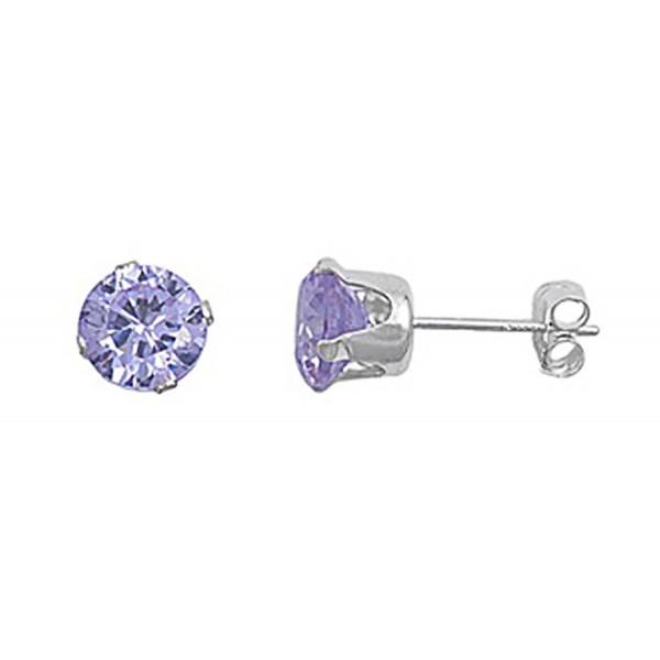 Sterling Silver Light Purple 3mm Round Cubic Zirconia CZ Stud Earrings - CZ115OX8EHL