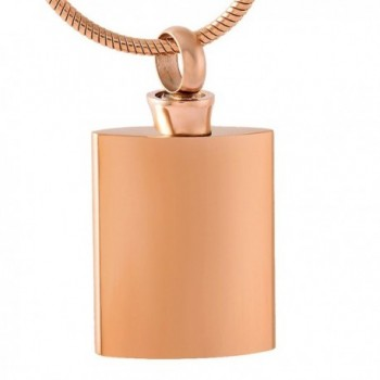 Wine Bottle Blank Stainless Steel Cremation Pendant Necklace Memory Ash Urn - rose gold - CZ1822CYLRE