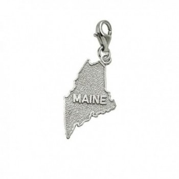 Maine Charm With Lobster Claw Clasp- Charms for Bracelets and Necklaces - C8184AEXEZW