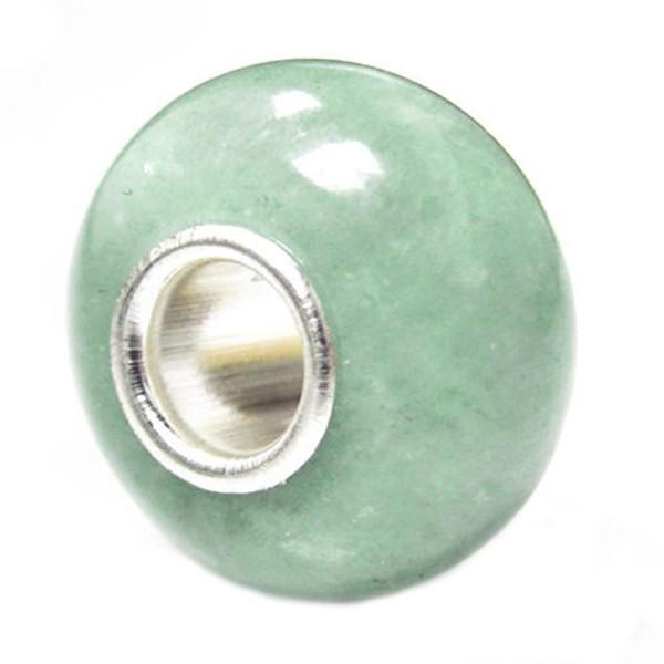 Natural Aventurine Sterling Silver Core European Bead Charm - CQ1152MO24D