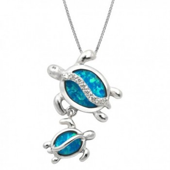 """Sterling Silver Mom and Baby Turtle CZ Necklace Pendant with Simulated Blue Opal and 18"""" Box Chain - CB1183OQIF3"""