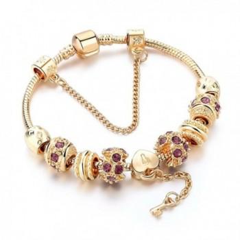 Charm BraceletGold Plated Bracelet With Lock And Key To My Heart Beads - C91896IQXE4