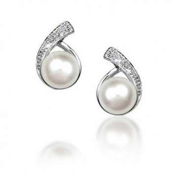 Bling Jewelry Button Freshwater Cultured Pearl CZ Sterling Silver Plated Earrings - CU1163PWGNH